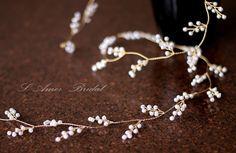 Bridal Hair Vine Tiara Wedding Hair Accessories Honey Golden