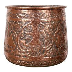 Copper Vessel, Copper Art, Antique Shelves, Le Havre, Garden Ornaments, Geometric Designs, Polished Brass, Metal Working, Egyptian