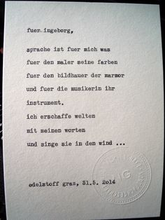 Sag mir ein Wort und ich schreib dir ein Gedicht. Wortfachgeschaeft @ Designmesse Edelstoff in Graz. Inspirationswort: Sprache
