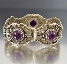 Antique Chinese Sterling Silver Filigree Amethyst Bracelet
