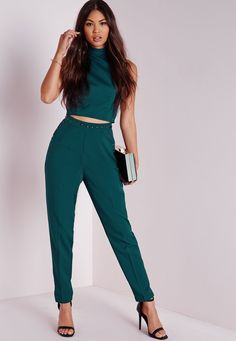 Missguided - Stud Detail Cigarette Trousers Teal