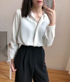 A Generation Of Women's Plain Colour Loose OL Lapel Long Sleeve Shirt Blouse Entity Kpop Fashion, Work Fashion, Asian Fashion, Fashion Tips, Retro Fashion, Classy Work Outfits, Stylish Outfits, Cute Outfits, Dress Outfits