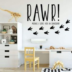 Dinosaur Wall Decal for Kids Room - RAWR! Means I Love You In Dinosaur - Vinyl Sticker for Boy's or Girl's Bedroom - Playroom or Baby - Dinosaur Wall Decal for Kids Room - RAWR! Means I Love You In Dinosaur - Vinyl Sticker for Boy's or - Dinosaur Wall Decals, Kids Wall Decals, Wall Vinyl, Sticker Vinyl, Wall Décor, Boy Room, Kids Room, Dinosaur Bedroom, Bathroom Kids