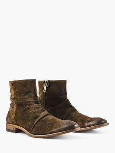 Saint Laurent WYATT Zippered Suede Boots With Leopard Print
