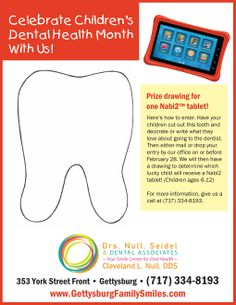 In celebration of Children's Dental Health Month we are holding a contest! Print out the attached flyer, cut out the tooth shape, decorate it or write on it why you love coming to the dentist, bring it or mail it into the office and we will display your artwork for the month of February! At the end of the month we will pick one lucky child that will win a Nabi 2 tablet! Don't forget to write your full name on the back of the tooth so we know who each tooth belongs to! HAVE FUN!