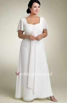 [$136.00] Stunning A-line Square Chiffon Wedding Dress