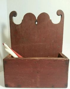 Early Wooden Hanging Candle Wall Box Square Nails Old Red Paint 19th C.     Sold  Ebay   1245.00