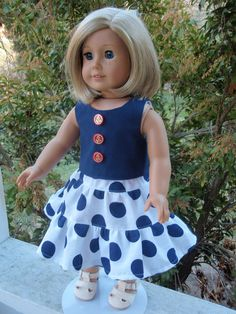 American Girl Doll Clothes Twirl Skirt Top Nautical by SewSoNancy, $15.00