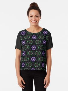 'A Green, Blue, Brown, Black, Ultraviolet Digital Mandala' T-Shirt by Beatrice Beute Vintage Bohemian, Vintage Colors, Ultra Violet, Blue Brown, Tshirt Colors, Wardrobe Staples, Female Models, Pattern Design, Classic T Shirts