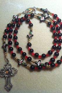 Black & Red crystal & Pearl Rosary