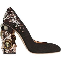 DSQUARED2 120mm Jeweled Suede Pumps ($1,060) ❤ liked on Polyvore featuring shoes, pumps, heels, black, footwear, black sequin shoes, high heel shoes, black heel pumps, black heel shoes and black suede shoes