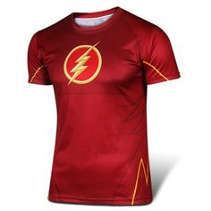 $9.72 Fashion Round Neck Slimming 3D The Flash Print Short Sleeve Polyester T-Shirt For Men