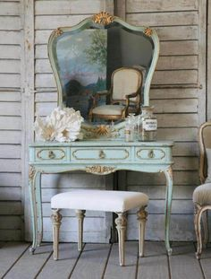 ... Fabulous Big Mirror Of Antique Vanity Table Set With Bench On Grey Wooden Wall And Table Outstanding Decoration ...
