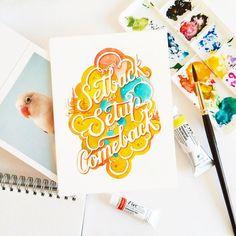 """June Digan on Instagram: """"It's been five weeks. Hello Monday!  #watercolour #lettering #calligritype #goodtype #watercolor"""""""