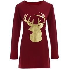 Reindeer Christmas Tee Dress ($18) ❤ liked on Polyvore featuring dresses, christmas, tee dress, red christmas dress, tee shirt dress, red dress and t shirt dress