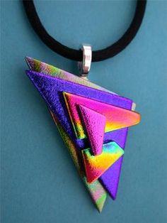$9.99  Starblazzer 10 Dichroic Fused Glass Pendant