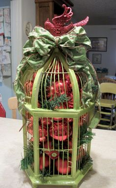 Holiday Centerpiece Birdcage by fewnicethings on Etsy, $110.00