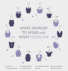 Jewelry For Moms Guide to what kinds of jewelry to wear with different necklines. Great tips for prom jewelry or formal occasions!Guide to what kinds of jewelry to wear with different necklines. Great tips for prom jewelry or formal occasions! Looks Chic, Looks Style, Look Fashion, Fashion Beauty, Fashion Design, Cheap Fashion, Fashion Ideas, Fashion Women, Feminine Fashion