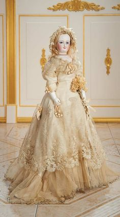 Cotillion - The Susan Whittaker Collection : 160 Exquisite French Bisque Smiling Poupee by Leon Casimir Bru, Size I, with Bisque Arms