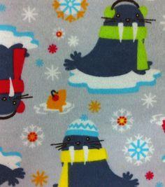 Snuggle Flannel Fabric - Winter Walrus