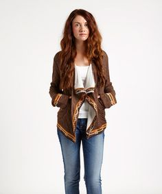 Another great find on #zulily! Brown Embroidered Open Cardigan by Aziza #zulilyfinds