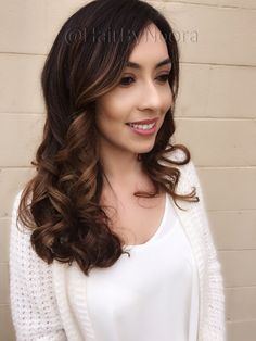 Brunette Balayage golden brown sombre health shiny hair cut and style