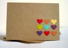 Stationery Cards Valentine Rainbow Hearts by RainyDayColors, $4.99