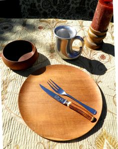 VTG Feast Gear Place Setting No.14  Wood Plate by TridentsTreasure, $50.00