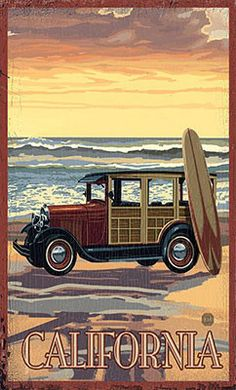 Surf board california vintage