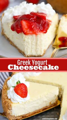Greek Yogurt Cheesecake – Celebrating Sweets A lighter cheesecake made with a combination of Greek yogurt and cream cheese in a graham cracker crust. Greek Yogurt Dessert, Greek Yogurt Cheesecake, Light Cheesecake, Greek Yogurt Recipes, Desserts With Greek Yogurt, Greek Yogurt Cookies, Cream Cheese Cheesecake, Greek Sweets, Greek Yoghurt