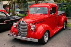 """Very neat 38 Ford pickup """"beer barrel"""" model, so called because of the shape of it's front grill. Vintage Red Truck, Vintage Pickup Trucks, Classic Pickup Trucks, Antique Trucks, Ford Pickup Trucks, Chevy Trucks, Vintage Cars, Antique Cars, Car Ford"""