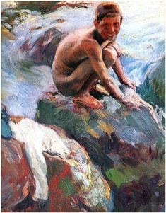 Page: Boy on the Rocks, Javea Artist: Joaquín Sorolla Place of Creation: Spain Style: Impressionism Genre: genre painting Technique: oil Material: canvas Spanish Painters, Spanish Artists, Masculine Art, Most Famous Paintings, Art Database, Oil Painting Reproductions, Human Art, Large Painting, Painting Art