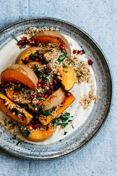 "Roasted Squash with Creamy Miso Garlic Sauce and Toasted Almond ""Breadcrumbs"" Hello friends! I hope you're all hanging in there and taking good care of yourselves despite the holiday madness. We're focusing on letting go of ""shoulds"" this year and are… Vegetable Recipes, Vegetarian Recipes, Healthy Recipes, Whole Food Recipes, Dinner Recipes, Cooking Recipes, Flour Recipes, Clean Eating, Healthy Eating"