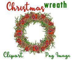 Christmas wreath clipart Christmas wreath digital Christmas