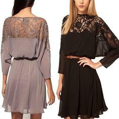 Plus Size Sexy lace batwing Chiffon Dress
