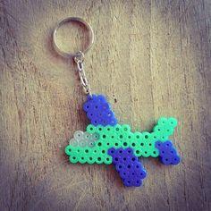 Blue and green aeroplane keyrings made of hama beads £2.50