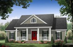 This County House Plan includes 3 bedrooms / 2.5 baths in 1951 sq ft of living space.  Its open floorplan layout is flexible and is ideal for your growing family.  Best of all, its designed to be affordable to build and includes all of the most popular features you're looking for in your next home design.    #houseplan #dreamhome #HPG-1951 #HousePlanGallery #houseplans #homeplans Colonial House Plans, Colonial Style Homes, Country Style House Plans, Ranch Style Homes, Craftsman House Plans, Craftsman Style, Colonial Exterior, Bungalow Homes, Cottage Style