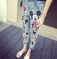 2014 nová móda ženy román karikatúra Mickey potlač džínsové nohavice rozsvieti modrou ceruzkou džínsy sladký capris pre ženy Lady doprava zdarma, v džínsoch od Dámske oblečenie a doplnky na Aliexpress.com | Alibaba Group