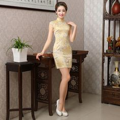 908687096 US $28.99 |Aliexpress.com : Buy Retro Sexy Chinese Tang Suit Qipao Costumes  Classical Style Women Qipaos New Design Short Sleeves Ladies Cheongsam Dress  ...