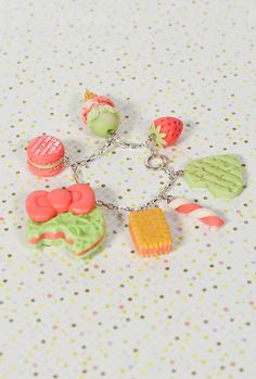 Sweet Confections Mint and Strawberry Dessert Bracelet-Sincerely Handmade Collection  $26.00