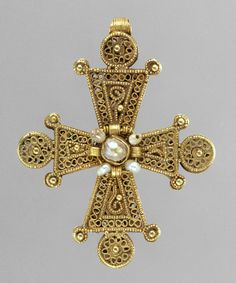 Pectoral Cross, 1200–1400  Byzantine  Gold, pearls