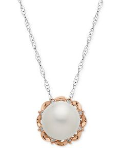 Sterling Silver Necklace and 14k Rose Gold, Cultured Freshwater Pearl (10mm) and Diamond Accent Flower Pendant - Necklaces - Jewelry & Watches - Macy's