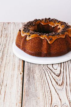 double chocOlate bundt cake with cookie butter glaze