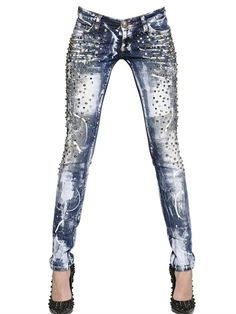 PHILIPP PLEIN - STUDDED STRETCH COTTON DENIM JEANS - LUISAVIAROMA - LUXURY SHOPPING WORLDWIDE SHIPPING - FLORENCE
