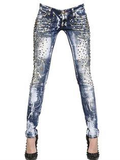 jeanshose mit nieten jeans hosen pants leggings. Black Bedroom Furniture Sets. Home Design Ideas