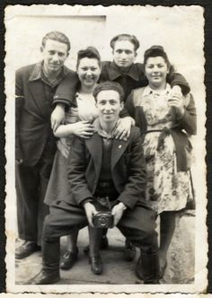 Group portrait of Jewish youth after the war in Lodz.