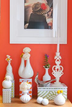 coral paint and bright white trim - such a joyful combo!