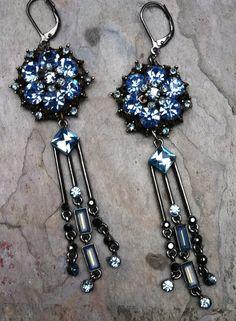 Vintage Czech Blue Rhinestone Earrings, Brass Filigree Chandelier, Repurposed Dangle