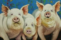 Pig painting 30 24x36 inch original oil painting by Roz by RozArt, $375.00