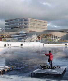 3XN chosen to build undulating lakeside aquatics center in sweden